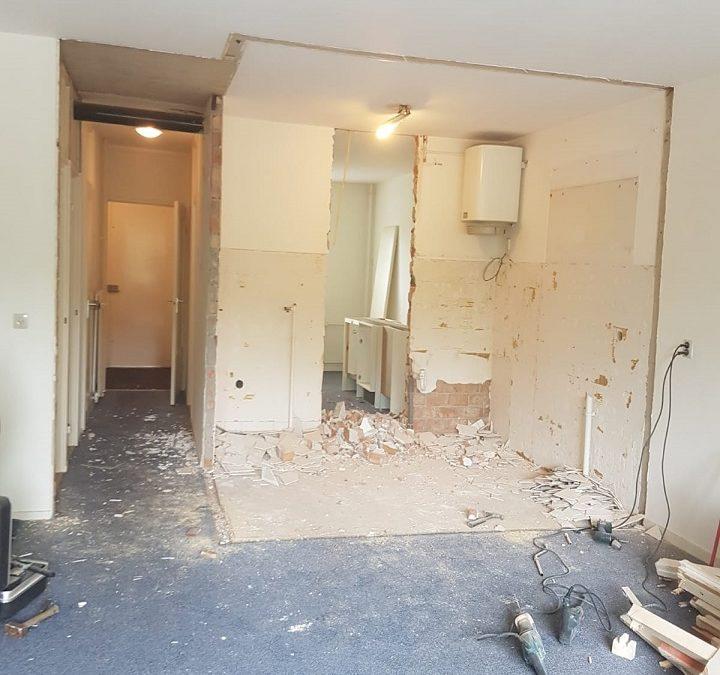 Voortgang werkzaamheden renovatie appartement Leiderdorp